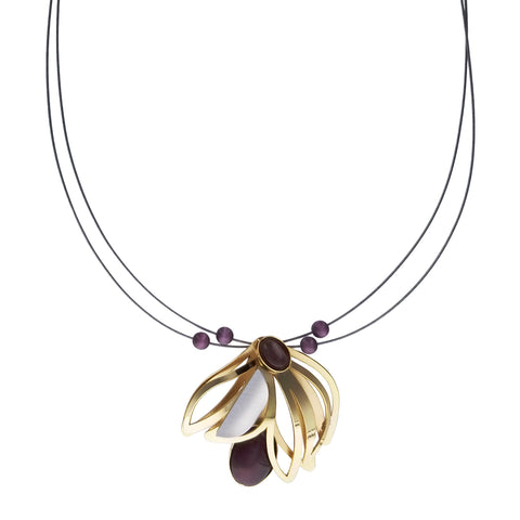Christophe Poly Gold Draping Blossom Necklace