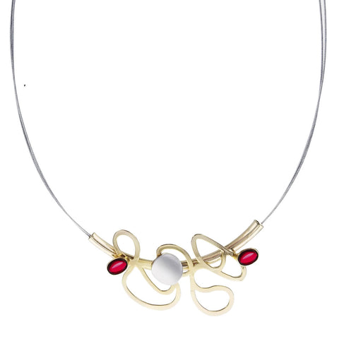 Christophe Poly Abstract Gold Dancing Lines Necklace