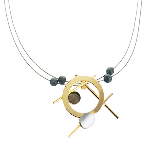 Christophe Poly Abstract Gold Sticks Circles Necklace