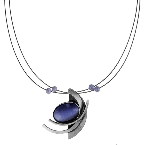 Christophe Poly Abstract Oval And Curves Purple Necklace