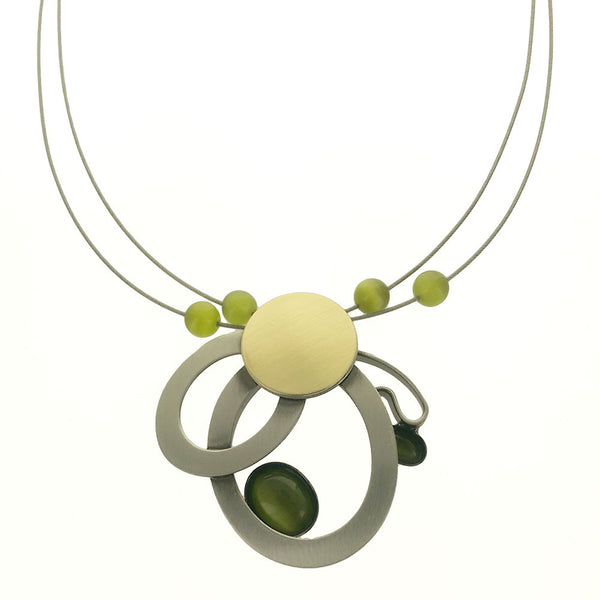 Christophe Poly Abstract Ovals Green Necklace