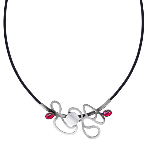 Christophe Poly Abstract Silver Dancing Lines Leather Necklace