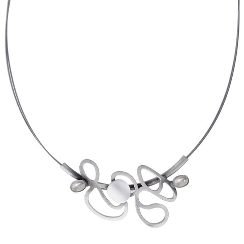 Christophe Poly Abstract Silver Pearlescent Dancing Lines Necklace