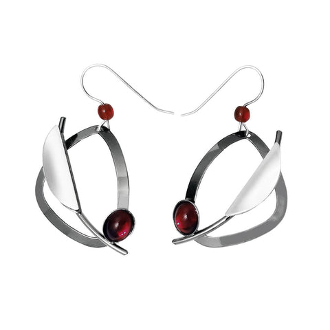 Christophe Poly Abstract Silver Triangle Red Earrings
