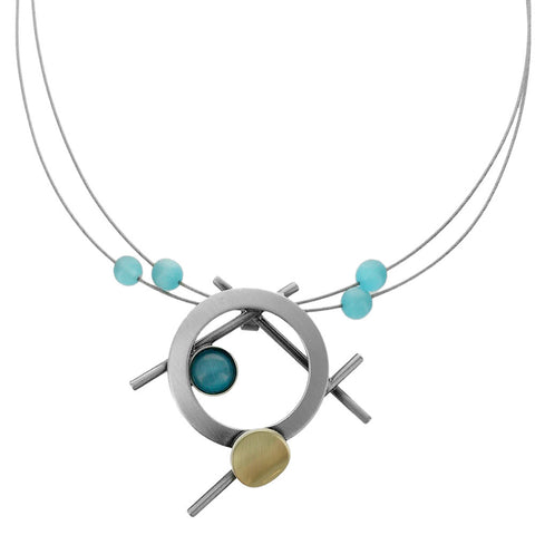 Christophe Poly Abstract Sticks And Circles Mixed Metal Necklace