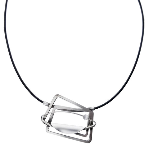 Christophe Poly Adventurous Squares Leather Necklace