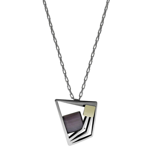 Christophe Poly Angular Pendant Purple Long Chain Necklace