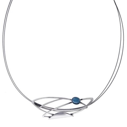 Christophe Poly Blue Silver Floating Leaves Necklace