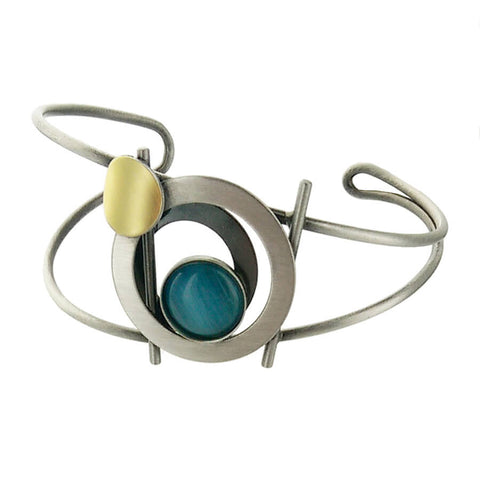 Christophe Poly Blue Silver & Gold Circles Cuff