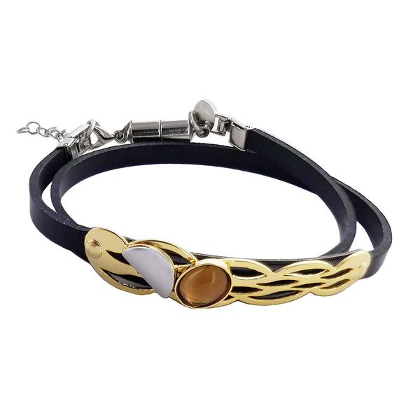 Christophe Poly Braided Gold Double Wrap Bracelet