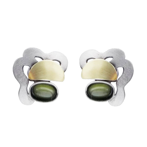 Christophe Poly Brushed Mixed Metal Green Post Earrings