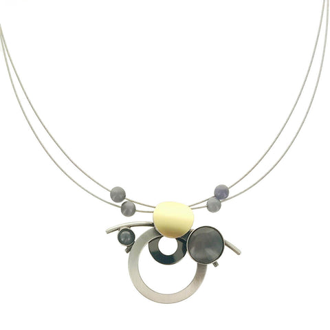 Christophe Poly Silver Circles & Rods Necklace