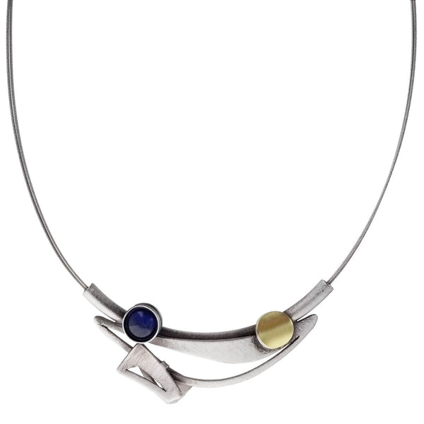 Christophe Poly Brushed Silver Smile Blue Circle Necklace