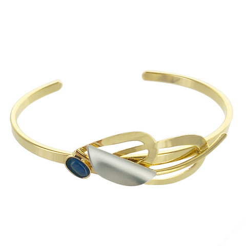 Christophe Poly Gold Blue Cabochon and Gold Ovals Cuff