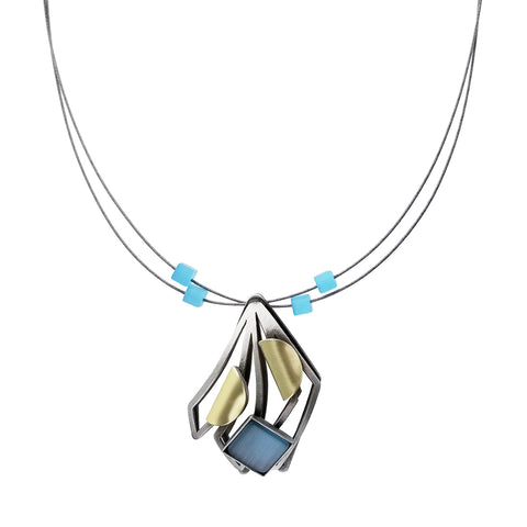 Christophe Poly Butterfly Wings Blue Necklace