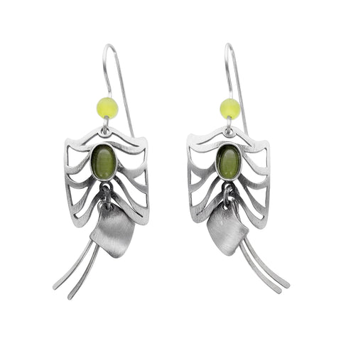 Christophe Poly Butterray Earrings With Green Oval Cabachon
