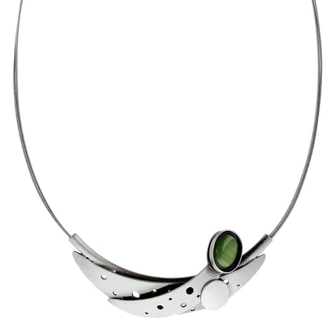 Christophe Poly Caressing Crescent Moons Green Necklace