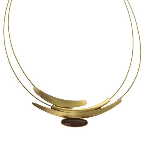Christophe Poly Cascading Gold Arcs With Purplish Oval Cabochon Necklace