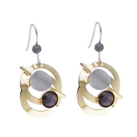 Christophe Poly Gold Silver and Purple Circle Earrings
