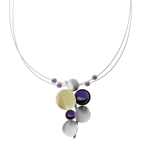Christophe Poly Cascading Circles Purple Pendant Necklace
