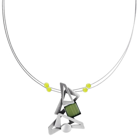 Christophe Poly Cascading Silver Green Necklace