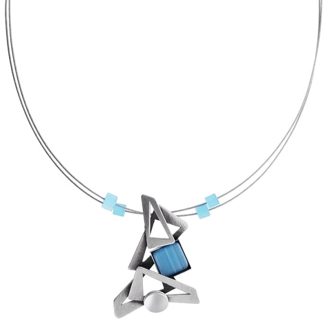 Christophe Poly Cascading Silver Blue Necklace