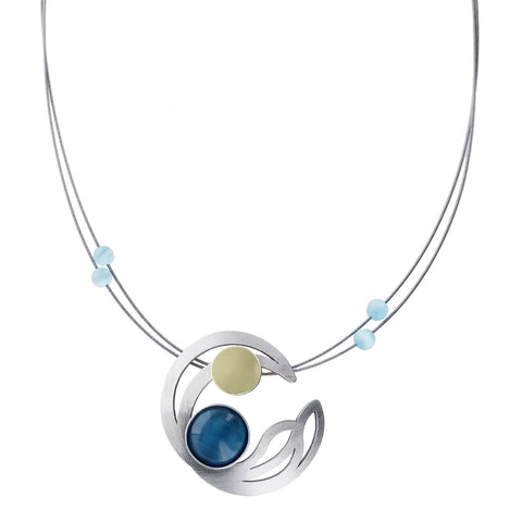 Christophe Poly Circle Wings Blue Necklace