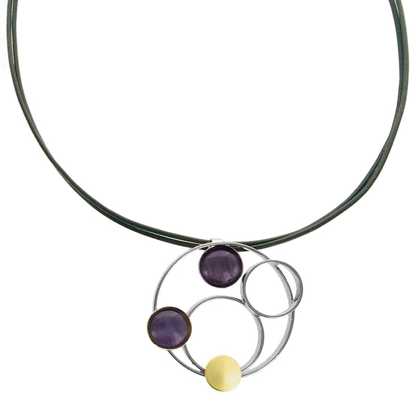 Christophe Poly Circles Leather Purple Necklace