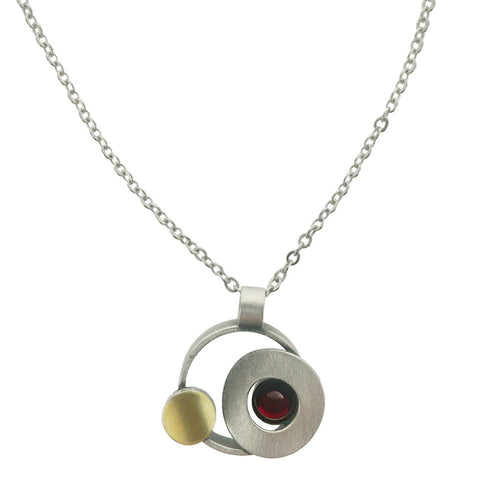 Christophe Poly Mixed Metal Circles On Chain Necklace