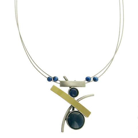 Christophe Poly Deep Blue Circle & Tabs Pendant Necklace