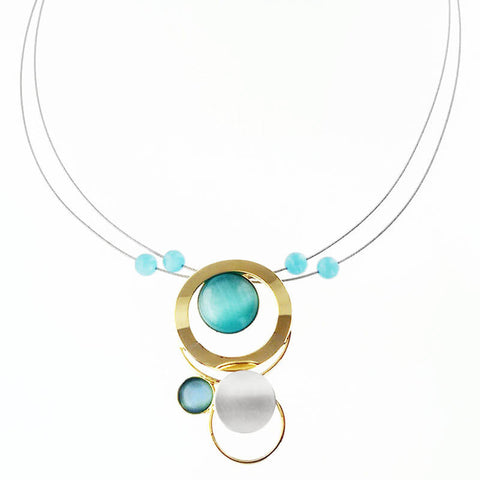 Christophe Poly Circles with Blue Necklace