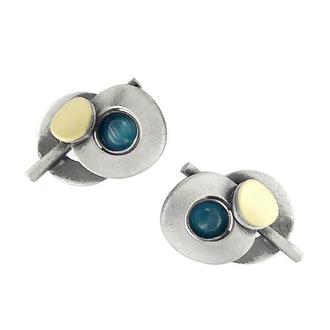 Christophe Poly Silver Gold and Blue Circles With Stem Post Earrings