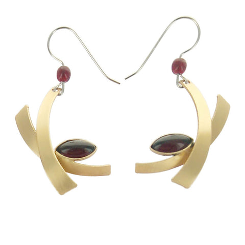 Christophe Poly Crossing Gold Red Marquise Earrings