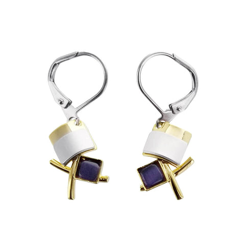 Christophe Poly Crossing Stems and Square Earrings
