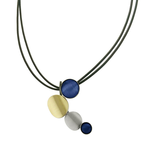 Christophe Poly Curved Cascading Mixed Metal Blue Circles Necklace