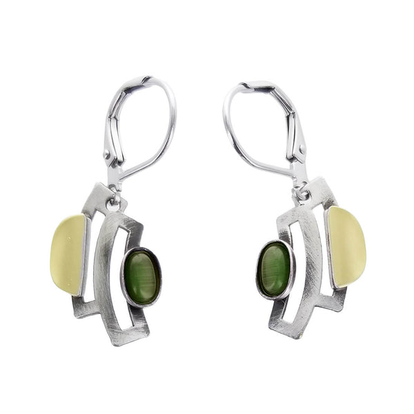 Christophe Poly Curved Silver Green Oval Lever Back Earrings