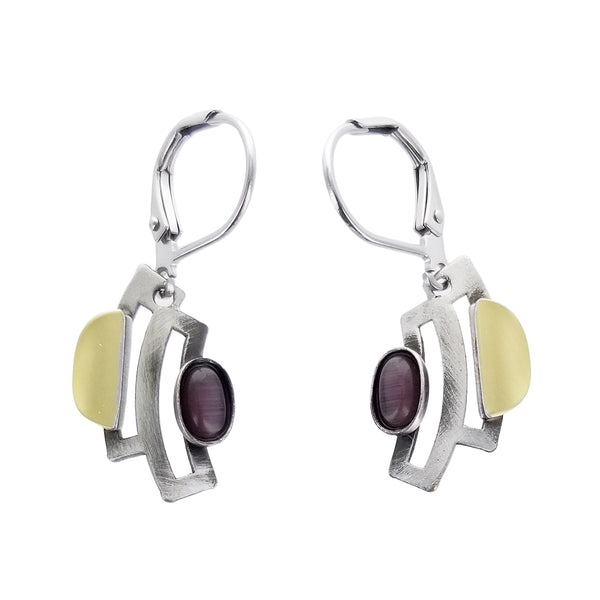 Christophe Poly Curved Silver Purple Oval Lever Back Earrings