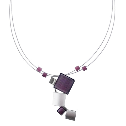 Christophe Poly Curving Squares Purple Pendant Necklace