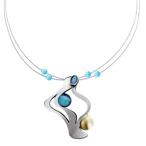 Christophe Poly Dancing Fire Blue Necklace
