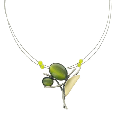 Christophe Poly Dancing Green Bouquet Necklace