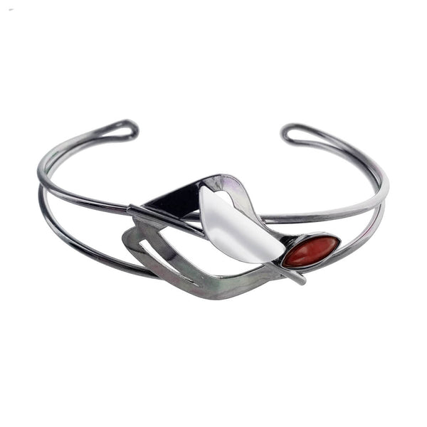 Christophe Poly Dark Silver Red Marquise Cuff