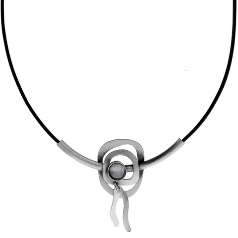 Christophe Poly Double Circle Tube Drop Necklace