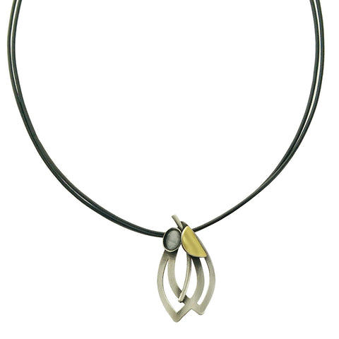 Christophe Poly Double Silver Leaf Leather Necklace