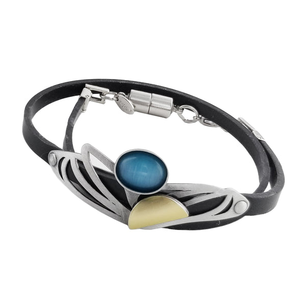 Christophe Poly Double Wrap Silver Wings Bracelet