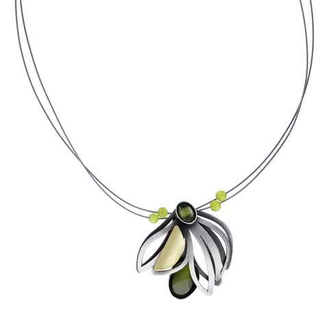 Christophe Poly Draping Blossom Green Necklace