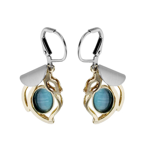 Christophe Poly Draping Golden Blue Petal Earrings