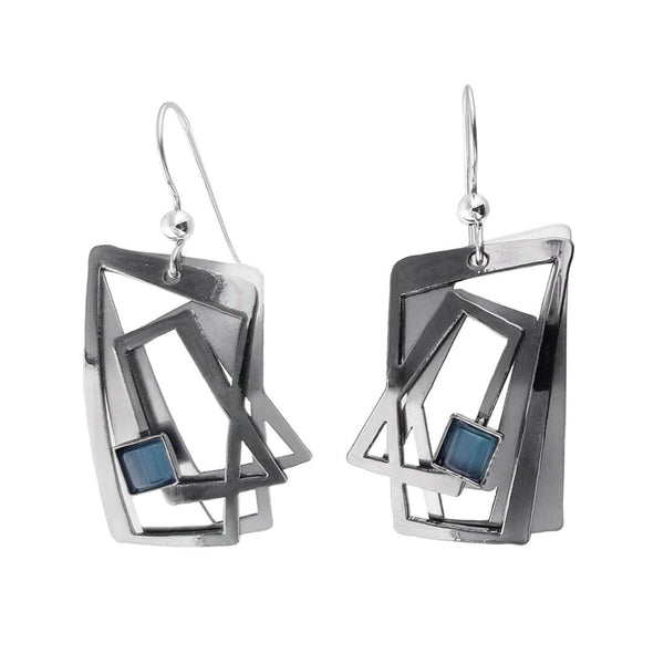 Christophe Poly Dynamic Angles Blue Earring