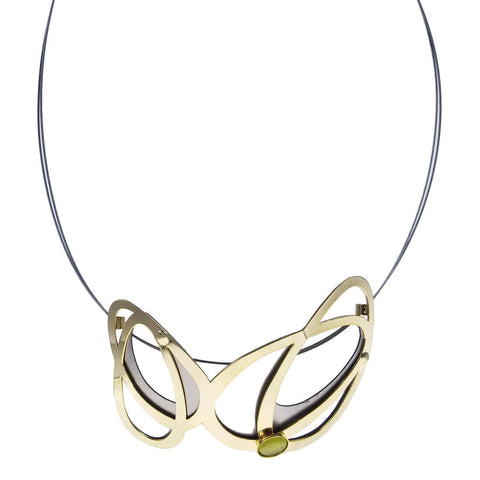 Christophe Poly Dynamic Butterfly Wings Gold Green Necklace