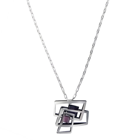 Christophe Poly Dynamic Squares Long Chain Necklace