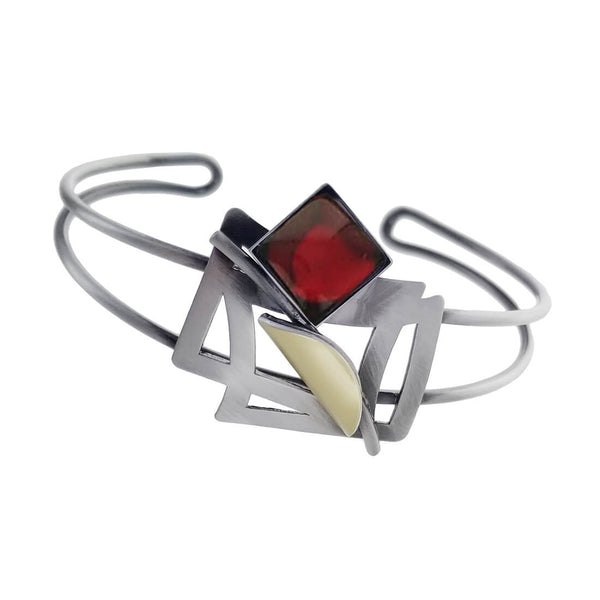 Christophe Poly Energized Squares Red Cuff